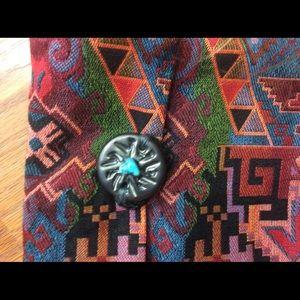 Vintage Bags - Tribal Rainbow Carpet Bag Turquoise Stone Bag